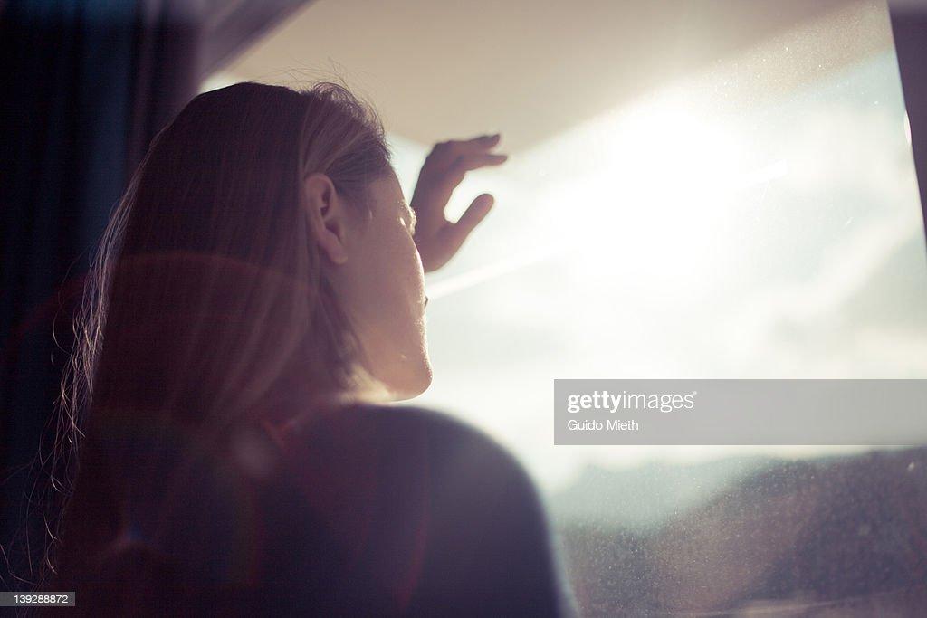 Women looking out window