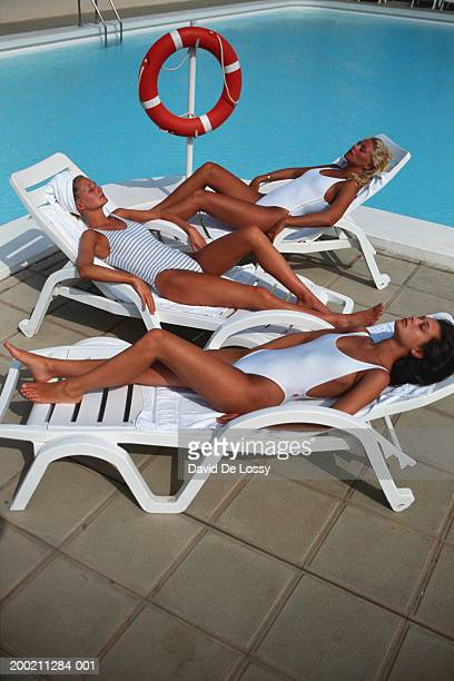 Women lying on deck chair