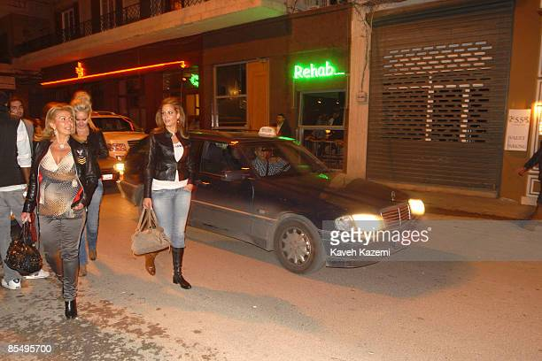 Women made up for a weekend night outing walk on October 302008 in Gemmayze the most fashionable street in Beirut