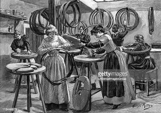 Women making pneumatic tyres for bicycles France Wood engraving Paris 1896