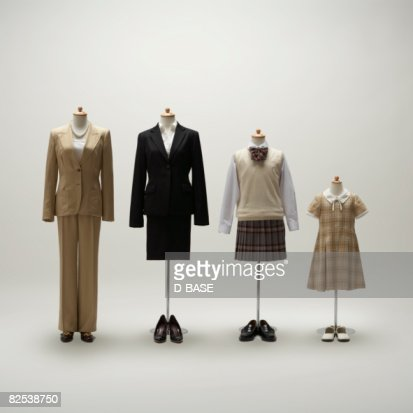 women mannequins dressing a formal wear in a row.