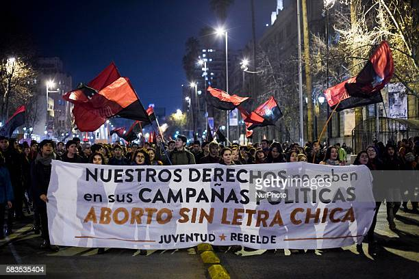 Women marched through the center of the city of Santiago de Chile on 25 July 2016 in favor of abortion safe and free organized by the Coordinator of...