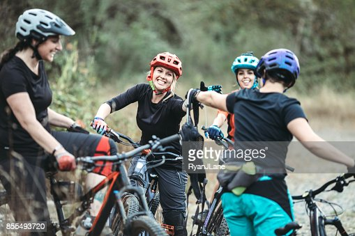 Women Mountain Biking Team Stock Photo Getty Images