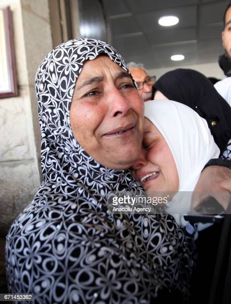 Women mourn during the funeral ceremony of 17yearold Ahmad Zahir Fathi Ghazal in Nablus West Bank on April 22 2017 Dead body of Ahmad Zahir Fathi...