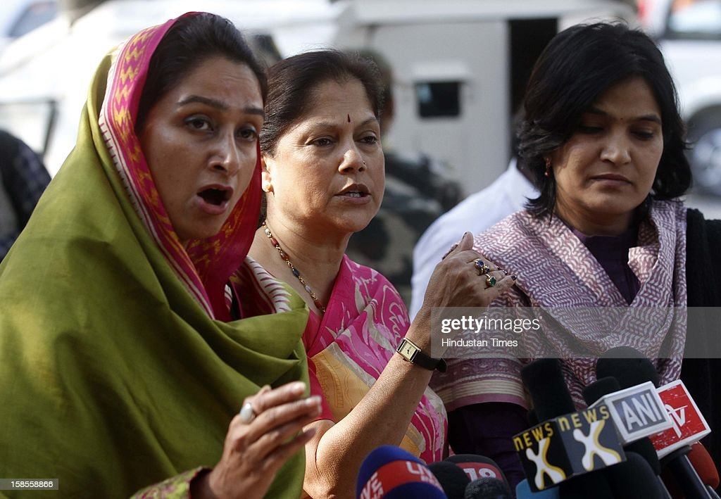 Women MPs Harsimrat Kaur, Yashodhra Raje and Bhavana Gawali talking to media at Parliament House during a protest against the recent gang rape case, on December 19, 2012 in New Delhi, India.