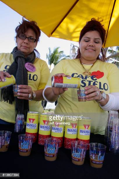 Women offering free samples of Cafe Bustelo coffee at the Art Deco Weekend parade