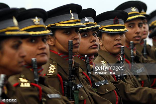 Women officer contingent of Indian Army march during the Army Day parade at Delhi Cantt on January 15 2015 in New Delhi India It was the first time a...
