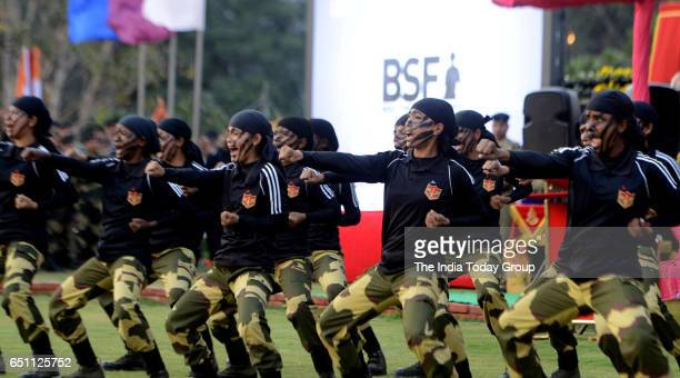 Women officers of Border Security Force demonstrate their skills during the celebrations of 'International Women's Day' organised by BSF at Connaught...