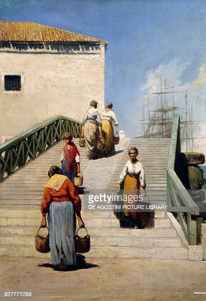 Women on a Bridge in Venice by Vincenzo Cabianca oil on canvas 41x28 cm Italy 19th century Piacenza Galleria D'Arte Moderna Ricci Oddi