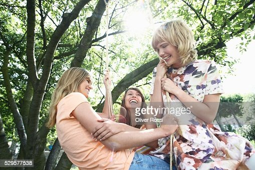 Women on a Swing : Foto stock