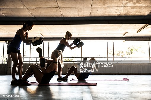 Women only boxing team exercising outdoor