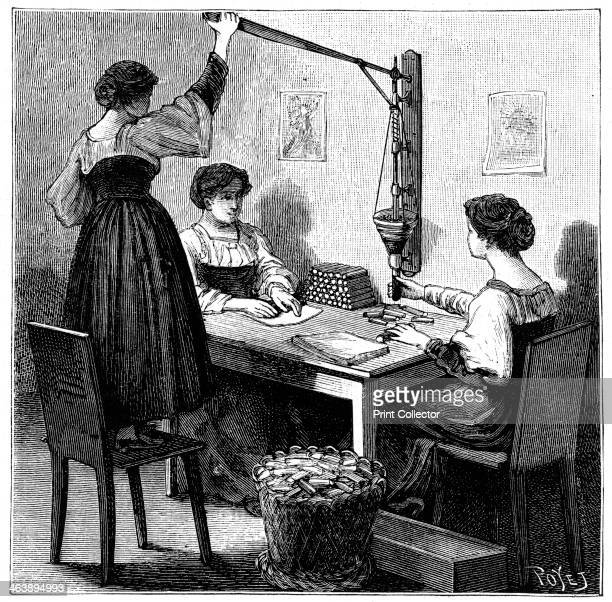 Women packing dynamite cartridges 1888 Explosives factory at Val Bormida near Cengio northwest Italy Nitroglycerin was mixed with Kieselghur to...