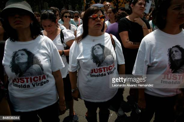 Women participate in a protest to demand justice after the femicide of Mara Fernanda Castilla on September 17 2017 in Guadalajara Mexico