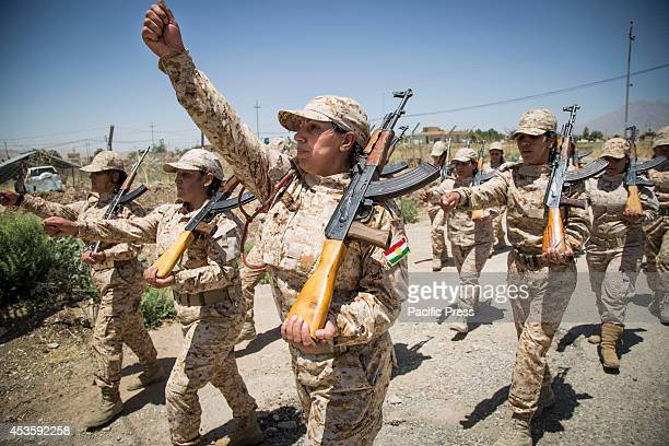 Women Peshmergas of the 2nd Battalion perform a military march during a military exercise The 2nd Battalion is exclusively comprised of 550 female...