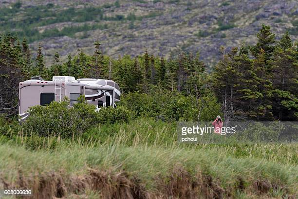 Women photographing in road trip, Motorhome in Labrador, camping