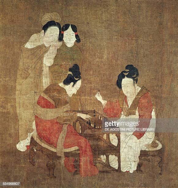 Women playing a game painted in colour on silk Chou Fang Sung times China 10th11th century Washington Smithsonian Institution Freer And Sackler...