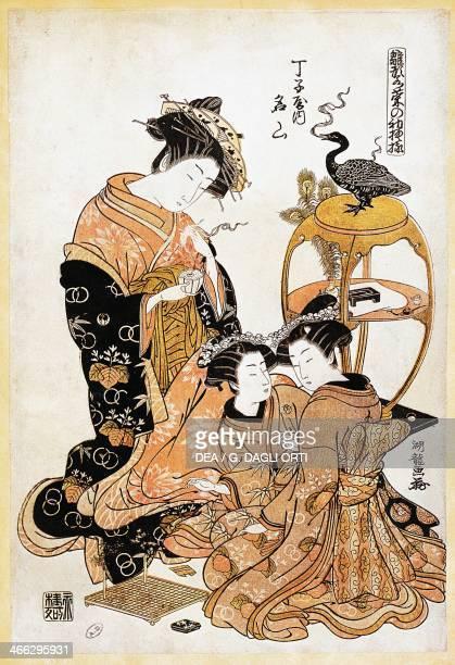 Women playing go ukiyoe art print by Torii Kiyonaga woodcut Japanese civilisation Edo period 17th19th century