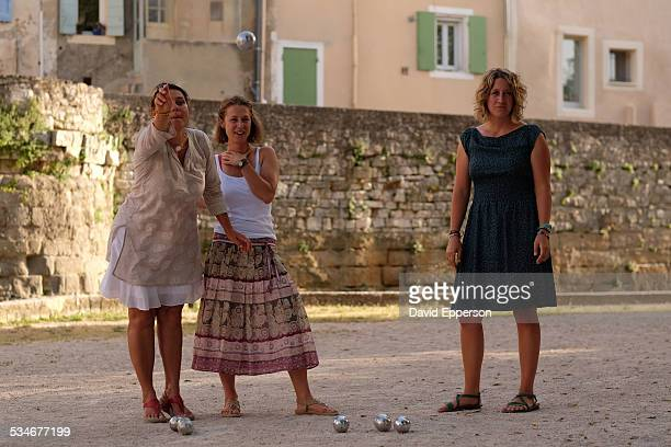 Women playing Petanque in Provence, France
