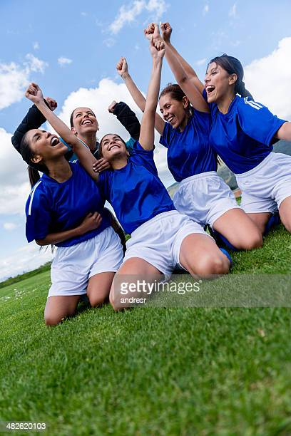Women playing soccer