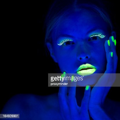 Women Portrait with Lime Green Fingernails in Neon Light