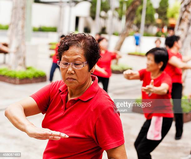 Women practising Tai Chi