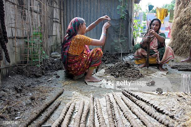 Women prepare cow dung rolls for drying under the sun In most of the rural areas dried cow dung used as biomass an alternative source of fire woods...