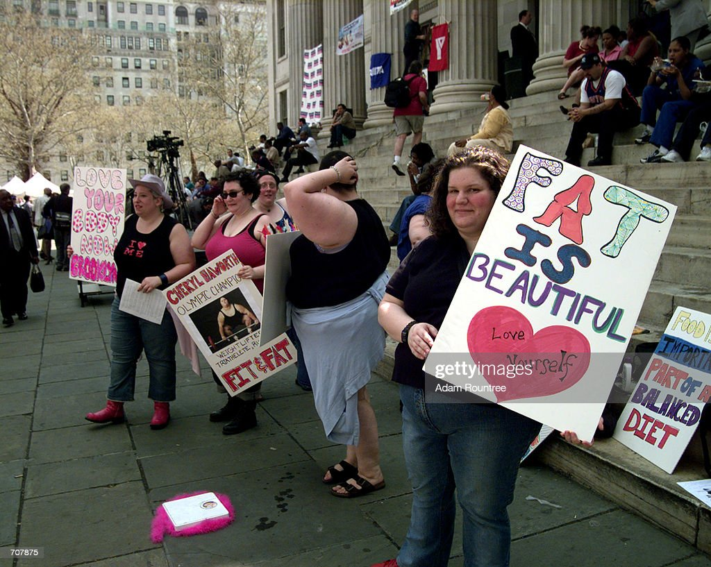 Women protest against Brooklyn Borough President Marty Markowitzs new weight loss program 'Lighten up Brooklyn' and what they call fat phobia April...
