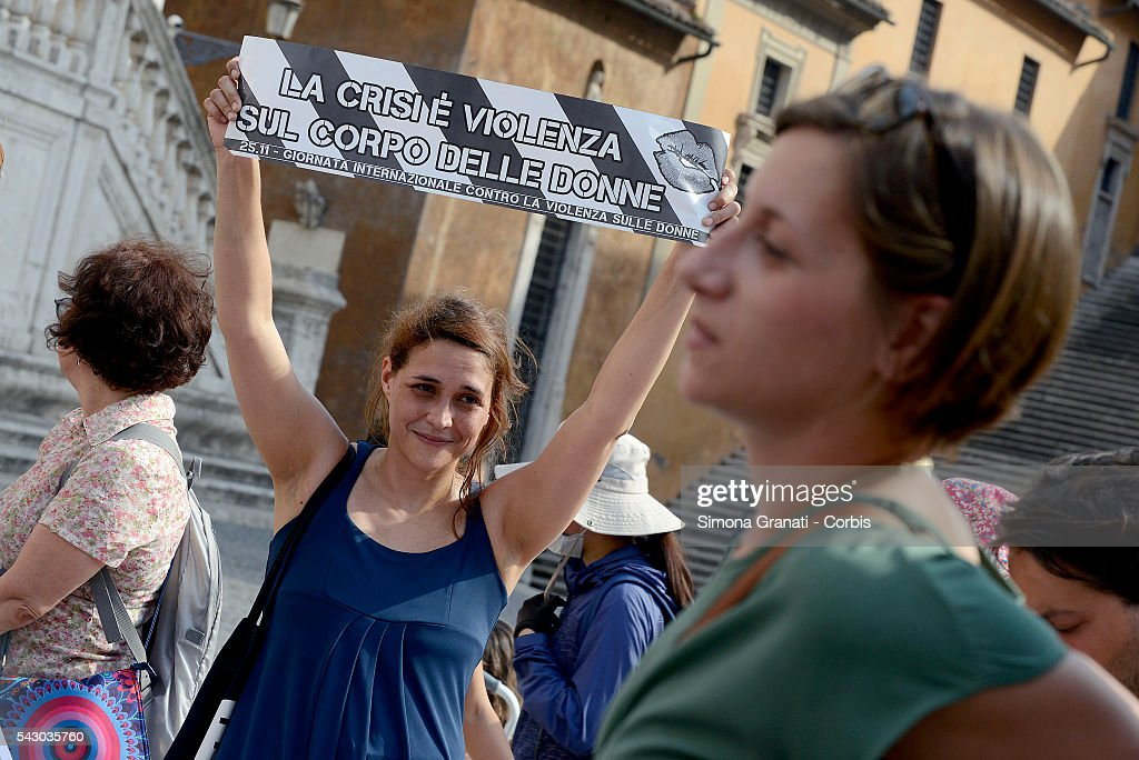 Women protest at the Capitol under the seat of the Municipality of Rome against violence and femicide, and ask the mayor Virginia Raggi not to seal the anti-violence centers, on June 24, 2016 in Rome, Italy.