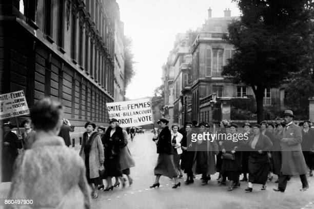 Women protest for their right to vote on May 1936 during huge demonstrations that marked the Popular Front government in 1936 / AFP PHOTO /