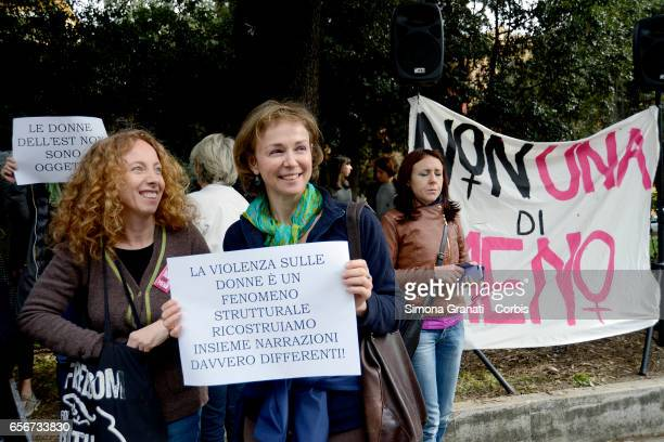 Women protest in front of the headquarters of the RAI in Viale Mazzini against sexism racism and stereotypes on TV on March 22 2017 in Rome Italy...