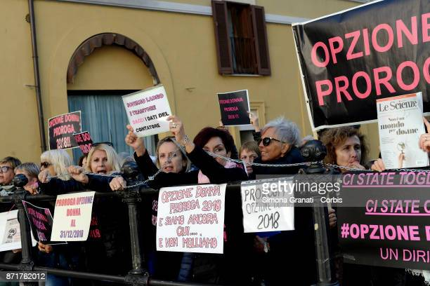 Women protest to ask for the extension of 'OPZIONE DONNA' the possibility of early retirement for women workers provided for in the Pension Reform on...