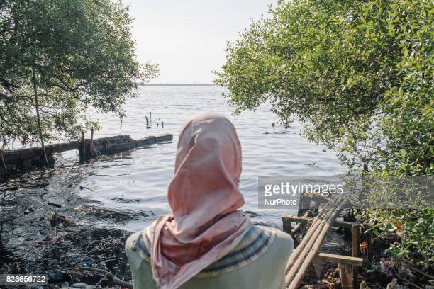 A women puppet stand on mangroves along shoreline of Jakarta on July 27 2017 Mangrove forests in Indonesia can survive from sea level rises as they...