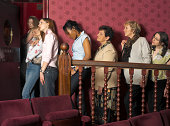 Women queuing for theatre bathroom