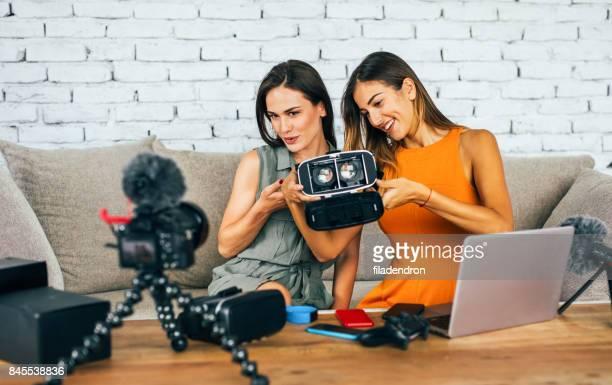 Women reviewing VR technology