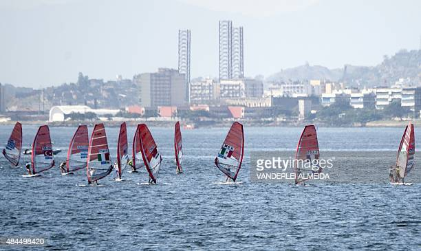 Women RSX world champion French Harline Picon competes in the International Sailing Regatta held in the Guanabara Bay in Rio de Janeiro Brazil on 19...