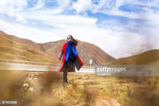 Women sanding on the road