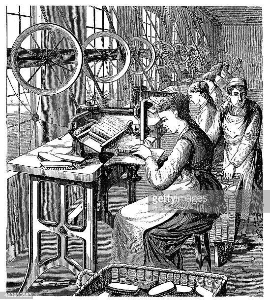 Women securing bristles in brushes using Woodbury's machine late 19th century The machines invented in America around 1870 are set up by the windows...