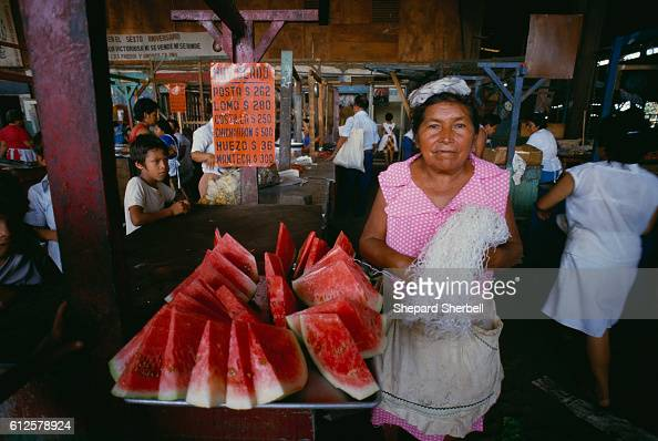 A women sells watermelon at the central market in Managua Nicaragua's capital city Rising to power within the Nicaraguan government in the 1980s the...