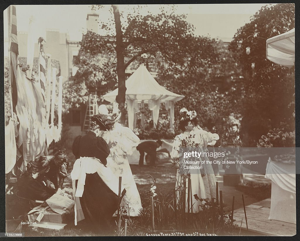 Women setting up a garden party at 37th Street and 5th Avenue to benefit Barnard College New York New York 1896
