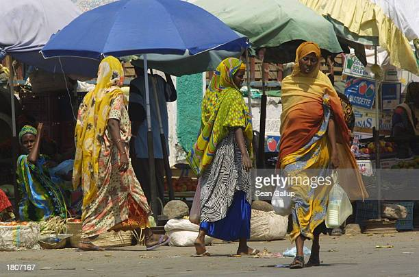 Women shop at an openair market February 21 2003 in Djibouti Town Djibouti Located in the Horn of Africa Djibouti has taken on strategic significance...