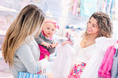 Women shopping at a baby store
