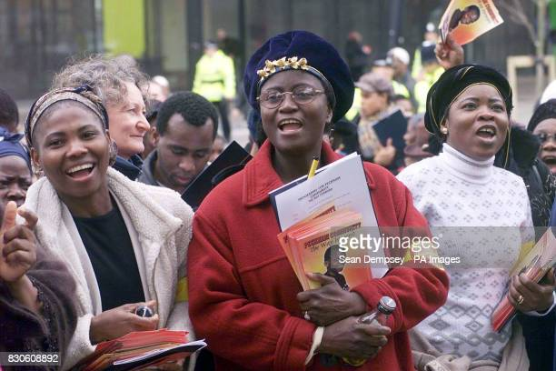Women singing during the march in south London in support of Damilola Taylor who was murdered in Peckham * Several churches in Damilola's...