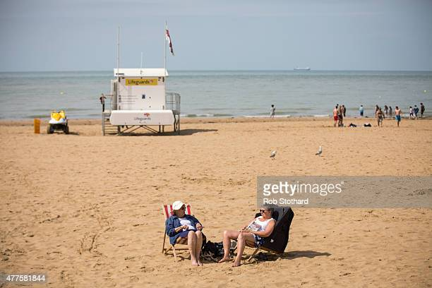 Women sit in deck chairs on the beach on June 18 2015 in Margate England The county of Kent was placed top on a list of Europe's best family holiday...