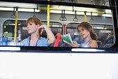 Women sitting in a bus