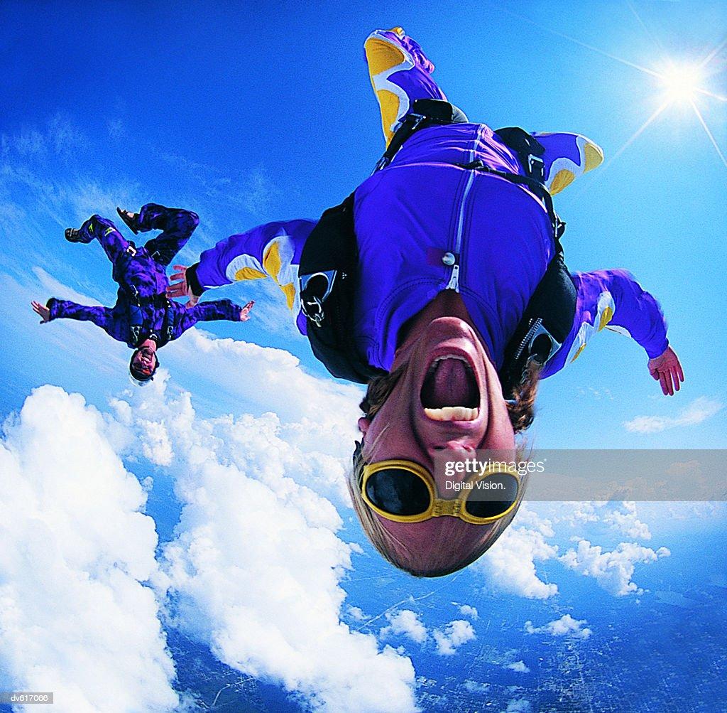 Women Skydiving : Stock Photo