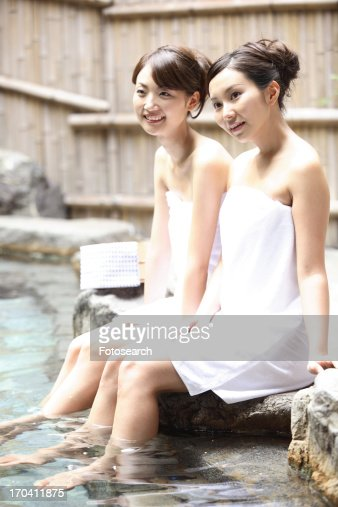 Keywords. Women In An Openair Bath Stock Photo   Getty Images