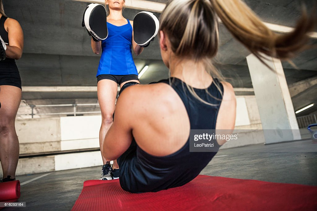 Women sport team boxing outdoor : Stock Photo