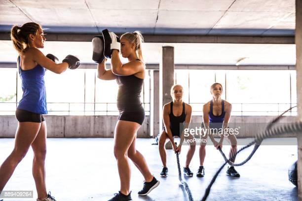 Women sport team boxing outdoor