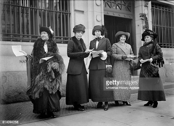Suffragettes Handing out Fliers announcing Parade Washington DC USA circa 1913