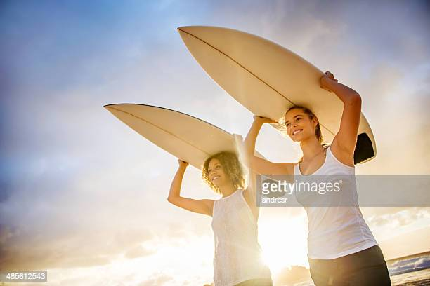 Women surfing